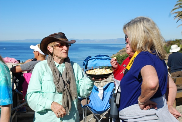 Cheese and camaraderie welcome gray whale volunteers. Photo by Brenda Rees