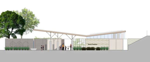 MODERN DESIGN - Rendering of proposed nature center which will be Platinum LEED certified.
